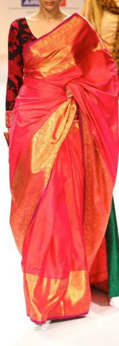 Khadi Saree by Gaurang Shah - I would deifinitely wear this elegant color combination