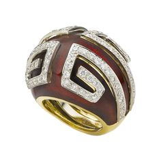 David Webb Scroll Ring in red enamel and diamonds (=)