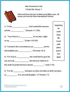 Bible Worksheets for Kids. These Bible worksheets for kids are fill-in-the-blank questions featuring some key kids' Bible verses. We have lots more Bible Bible Activities For Kids, Bible Verses For Kids, Bible Study For Kids, Worksheets For Kids, Kids Bible, Scripture Verses, Bible Games, Easter Worksheets, Bible