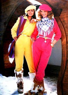 Burda International Fall/Winter 1980-1981 Ol' fashioned ski party with one-piece neon colored snowsuits!