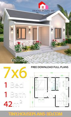 Tiny House Plans with One Bedroom Cross Gable Roof - Tiny House PlansYou can find Small house plans and more on our website.Tiny House Plans with One Bedr. Small House Floor Plans, Modern House Plans, One Bedroom House Plans, Small House Plans Under 1000 Sq Ft, Small Home Plans, Tiny Cabin Plans, Two Bedroom Tiny House, Guest House Plans, 3d House Plans