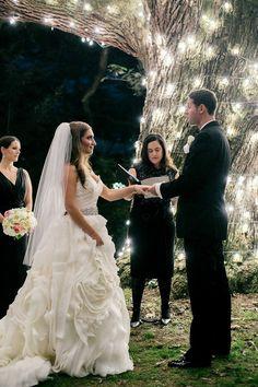 Moonlight Pennsylvania Wedding Under a Sparkling Tree at Aldie Mansion from Emily Wren. - wedding dress
