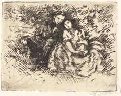 Albert Besnard, Amorous Conversation (Conversation amoreuse),1913, etching in black on laid paper