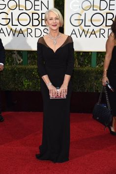 Helen Mirren de Badgley Mischka en #GoldenGlobes 2016