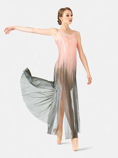 ADULT FLOOR-LENGTH PANELED MESH DRESS