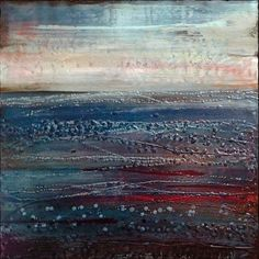 """Original Sea Encaustic Painting entitled """"Lonely Rivers Sigh"""" by Brenda Erickson, 24"""" by 24"""", 1 1/2"""" cradled wood panel. Archival materials."""
