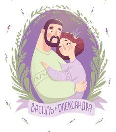 Один из последних заказов, который запал в душу) Рисовала иллюстрацию на пригласительный для очень милой пары из Западной Украины. Тема их свадьбы тесно переплеталась с лавандой и я выбрала соответствующую цветовую гамму. Мне очень нравится сочетание нежно-зелёного и фиолетового, а как вам? #lomakina_art #portrait #иллюстрация #портрет #семейныйпортрет #свадьба