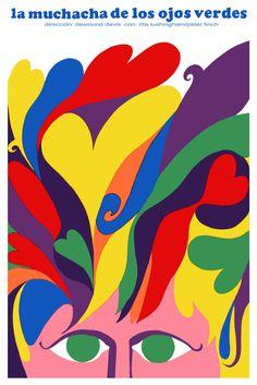 """Ilustración del afiche a favor del cine cubano de la mano de Paul René Azcuy Cardenas: """"La muchacha de los ojos verdes"""" (1968)."""
