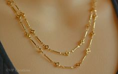 Gold fancy design chain long necklace, gold flower clover long chain necklace, everyday chain necklace, simple necklace, gift under 25 Gold Chain Design, Gold Jewellery Design, Gold Jewelry, Gold Earrings Designs, Necklace Designs, Gold Fashion, Fashion Jewelry, Fashion Necklace, Simple Necklace