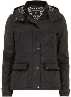 Navy waxed floral hood jacket - Jackets & Coats  - Clothing