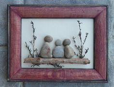 """Pebble Art (Three Sisters, Cousins, Friends) set in an """"open"""" wood frame by CrawfordBunch on Etsy"""