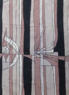 Vintage barkcloth fabric - abstract 1950's pattern