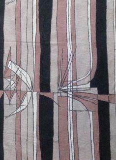 Vintage barkcloth fabric - abstract 1950's pattern