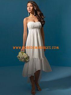 Robe de mariée Empire asymétrique mousseline