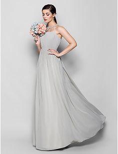 Floor-length+Chiffon+Bridesmaid+Dress+-+Silver+Plus+Sizes+/+Petite+Sheath/Column+Scoop+–+USD+$+99.99