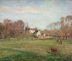 "Camille Pissarro (1830-1903) ~ ""Osny, Petit-Moulin et Prairie"", 1884 ~ Huile sur toile, 54 x 65 cm ~ Museum of Art, Providence (Rhode Island)"