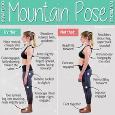 Mountain pose is one of the most basic postures in yoga, but lots is going on when it& done correctly. Check out how to do Mountain Pose. Yoga Stretching, Yoga Bewegungen, Yoga Moves, Yoga Meditation, Yoga Exercises, Yoga For Headaches, Headache Yoga, Yoga Terminology, Hata Yoga