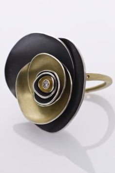 Ring   Melli Finelli. 'Petal'  Sterling, 18k gold with a diamond