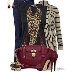 A fashion look from October 2013 featuring striped cardigan, cotton tank and blue flare jeans. Browse and shop related looks. Diva Fashion, Work Fashion, Fashion Outfits, Womens Fashion, Fashion Trends, Fashion Boutique, Fall Winter Outfits, Autumn Winter Fashion, Denim Pumps