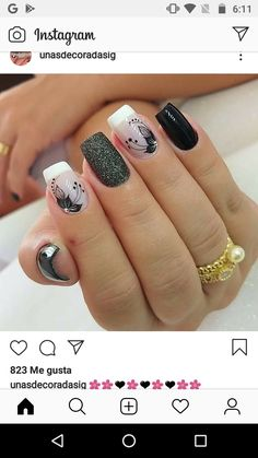 Solid Color Nails, Nail Colors, Purple And Silver Nails, Silver Nail Designs, Semi Permanente, Pretty Nail Art, Flower Nails, Holiday Nails, Manicure And Pedicure