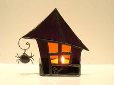 Halloween Haunted House Stained Glass Candle Holder by FleetingStillness on Etsy