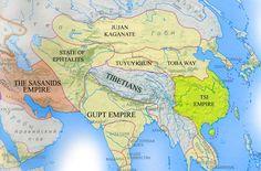 asia: sasanids, ephtalits, jujan kaganate, tuyuykhun, tibetans, toba way, tsi empire, gupt empire (c. 500 CE?)