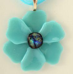Aqua Blue Poppy Pendant, fused glass pendant. $17.00, via Etsy.