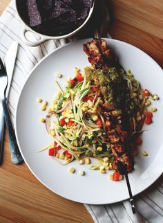 Tequila Lime Chicken Skewers w/ Zucchini Corn Salad and Salsa Verde | fromthelandweliveon.com