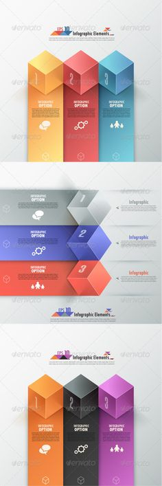 Buy Modern Infographic Options Banner (Three Versions) by Andrew_Kras on GraphicRiver. Modern infographics options banner with three colorful cubes and ribbons. Can be used for web design and work. Powerpoint Free, Powerpoint Design Templates, Presentation Templates, Web Design, Game Ui Design, Layout Design, Graphic Design Inspiration, Graphic Design Art, Geometric Graphic