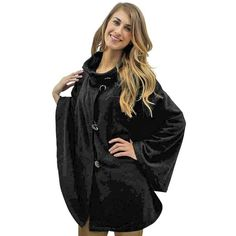 Black Fleece 3 Button Poncho Shawl Cloak ($49) ❤ liked on Polyvore featuring outerwear, black, poncho shawls, style poncho, long cloak, poncho shawl, long shawl and shawl poncho