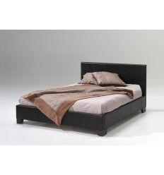 Lit adulte simili cuir de coloris noir, 160x200 cm