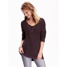 Old Navy Womens Shaker Stitch Tunic Sweater ($40) ❤ liked on Polyvore featuring tops, sweaters, dark night, long sweaters, purple top, vneck sweater, long tops and long v neck sweater