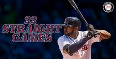 Boston Red Sox Jackie Bradley Jr. continues to be one of the hottest hitters. His RBI double extends his hit streak to 22 games. 5/17/2016