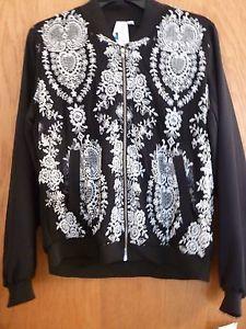 Society Girl Black & Off White Lace Moto Jacket (Medium)