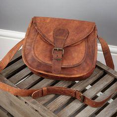 Compact Vintage Style Leather Handbag