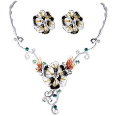 EVER FAITH® Silver-Tone Cubic Zirconia Black Enamel Elegant Hibiscus Flower Necklace Stud Earrings Set >>> Awesome product. Click the image : Jewelry Sets