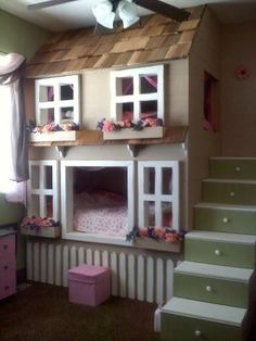 Teenage girl room ideas with bunk beds cool beds for little girls little kid bunk beds House Bunk Bed, Bunk Beds With Stairs, Cool Bunk Beds, House Stairs, Girls Bunk Beds, Kid Beds, Girls Bedroom, Bedroom Ideas, Design Bedroom