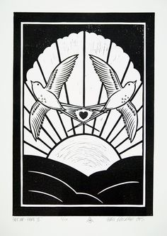 Chris Bourke.... Get Up Part 2.... lino print, edition of 150..... £50 unframed..... #chrisbourke #getuppart2 #getup #lino #print #birds #heart #sun #black #white
