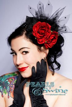 Red Rose Headband Burlesque Fascinator Pinup Rockabilly Wedding Flower Hair Accessory Vintage Inspired by Pearls & Swine