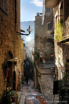 Last light of day, alley, medieval town of Dolceacqua, Imperia, Liguria