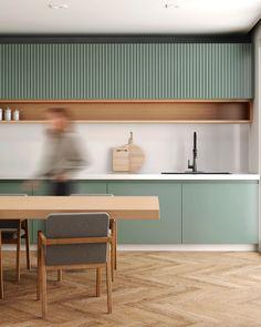 Kitchen Room Design, Modern Kitchen Design, Home Decor Kitchen, Interior Design Kitchen, Home Kitchens, Green Kitchen, Kitchen Sets, New Kitchen, Cuisines Design