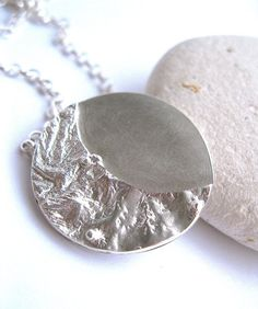 Sterling silver reticulated moon pendant by DorsetHillJewellery