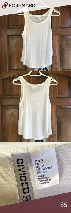 H&M Wide-cut Tank Top Soft, like-new basic tank in white. Wide cut and short in length. Only worn once. Size small. H&M Tops Tank Tops