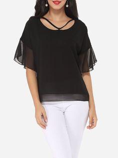 #AdoreWe #FashionMia Blouses - FashionMia Plain Mandarin Sleeve Exquisite Round Neck Blouse - AdoreWe.com