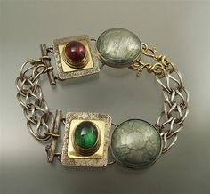 Love this one!  Basse-Taille Enamel Bracelet with Tourmalines by Ehrhardt Studios  $565.00  ||  Materials: sterling silver, 18k gold, Tourmalines, enamels; the double, locking clasps and also some jump rings are 18k gold.