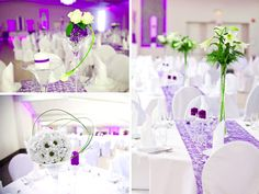 three simple and amazing table settings in the same reception.  All tied together nicely by the use of color in the floral arrangments, and the purple table runner and candles.