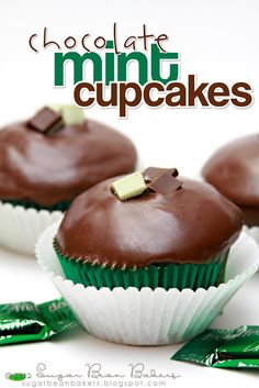 Chocolate Cupcakes topped with a Chocolate Mint Glaze (made from Andes Mints) - This is seriously one of my all time favorite flavor combinations.
