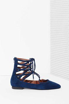 Jeffrey Campbell Atrium Suede Flat - Blue | Shop Shop All at Nasty Gal
