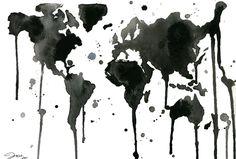 Mapa del mundo en negro y ¿se deshace?