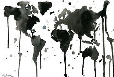 Watercolor Travel Illustration - It's a Black and White World print. $25.00, via Etsy.